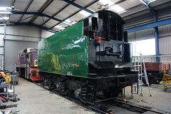 Finished Tender (gooey_lewy) Tags: train br britain top coat engine rail railway loco battle class steam southern valley finished british locomotive society 92 tender nene malachite squadron nvr 462 overhaul 34081 bbls