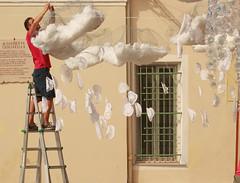 a man in the clouds (ludi_ste) Tags: italy white man clouds stair nuvole liguria uomo scala bianco alassio festadeicolori festivloofthecolours