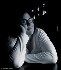 Suzanne (Trevdog67) Tags: portrait blackandwhite bw woman spouse bn wife stylized blancetnoir