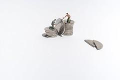 How To Double Your Money. (abnormally average) Tags: money cash coins 10p 5p saw cutting littlepeople ho hofigures hoscale presier miniature miniaturefigure lilliputians humour fun art white poot pootar lumberjack souppickle imagination
