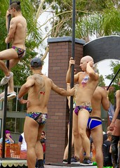IMG_6236 (danimaniacs) Tags: losangeles westhollywood gaypride parade shirtless hunk hot sexy man guy male speedo swimsuit trunks bikini pole dance float tattoo back