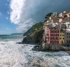 Riomaggiore, cinque Terre, Italy (Daniel Poon 2012) Tags: sea water by clouds was is high still day all village with wind five parks sunny it been have southern trail most national terre but mountainside had connected rough gusty although cinque riomaggiore nationalgeographic musictomyeyes the declared simplysuperb nikonflickraward blinkagain danielpoonca bydanielpoon blinkstomyeyes