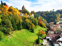 Autumn Colors in Fribourg, Switzerland (` Toshio ') Tags: toshio fribourg switzlerland autumn fall trees nature wall oldtown europe european hill city iphone houses castle