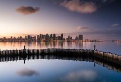 San Diego Sunrise (Beau Rogers) Tags: skyline sandiego california reflection harbor bay water morning city birds pigeon clouds