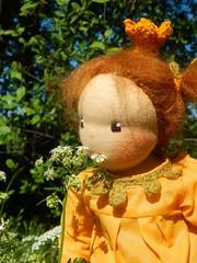 Prinzessin Penelope_12052016_an Blte schnuppernd (Puppenhandwerk Prsch) Tags: handmadeclothdoll clothdoll organicdoll waldorfdoll steinerdoll prinzessinpenelope danieladrescher urachhaus companiondoll dollmaker dollmaking