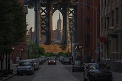A closer look, Manhattan bridge (urbanexpl0rer) Tags: manhattanbridge empirestatebuilding streetshot streetphotography bridge cars newyorkcity newyork framing