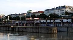 danube_channel_02 (rhomboederrippel) Tags: rhomboederrippel june 2016 fujifilm xe1 austria vienna 2nddistrict 2bezirk danube channel summer sunset dusk ufer sonnenuntergang building architecture u4 graffiti art street