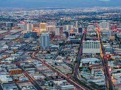 Las Vegas Twilight (Anthony Kernich Photo) Tags: lasvegas vegas nevada nv usa america city downtown twilight night sunset buildings light olympusem10 omd microfourthirds longexposure lasvegasboulevard stratospheretower cityview cityscape streetscape view stratosphere observationdeck lasvegassightseeing