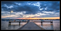 Blue Pier (lyncaudle) Tags: clouds dallas dallastx lake lakehighlands lakewood lyncaudle nature sky sunset water whiterocklake whiterock