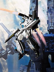 "1:100 Macross VF-1A Super Valkyrie* ""155"" with R-X2A and FAST packages - Battroid mode (Kitbashing) (dizzyfugu) Tags: anime macross model kit japanimation super battroid valkyrie destroid giant robot gerwalk fighter zentraedi transformers oav dizzyfugu modellbau conversion kitbashing scratch roy fokker robotech protoculture vf1 walkre"