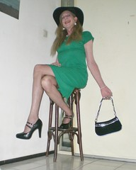New shoes! (sabine57) Tags: crossdressing transvestism crossdress crossdresser cd tgirl tranny transgender transvestite tv travestie drag pumps highheels nylons stockings dress handbag hat
