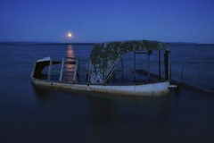 moonrise, batchawana bay, ontario (twurdemann) Tags: 03ndsoftgrad abandoned batchawanabay batchewanafirstnation beach boat decay derelict detailextractor fishtug fishingboat highway563 horizon lakesuperior leeseven5 nikcolorefex ontario seascape shipwreck shoreline sky toad water winter