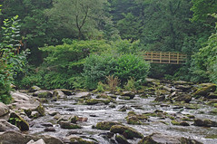 D15300.  Watersmeet near Lynmouth in North Devon. (Ron Fisher) Tags: eastlynriver water river watersmeet devon northdevon england europe gb greatbritain uk unitedkingdom pentax pentaxkx tamron tamron18200mm tamronaf18200mmf3563xrdiiildasphericalif bridge brcke waterfall
