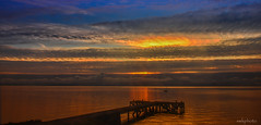 Portencross sunset (swkphoto) Tags: pier portencross sunset clouds water firth clyde reflection colours sky