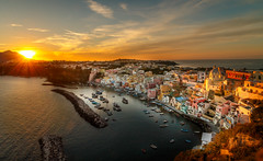 Procida Sunset (davecurry8) Tags: procida italy italia island isola sunset marinacorricella boats bayofnaples
