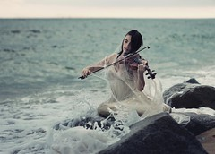 Drowned notes reveals the longing for your presence. (Sus Blanco) Tags: musicalnotes sea nature spiderweb conceptual fineart blue longing nostalgia white mermaid violin artisticportrait