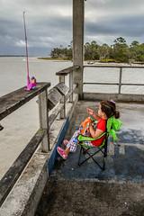 Lily, fishing on the pier at Jekyll Island (Amanda L Brewer) Tags: jekyllislandvacation2016 amandalbrewer atlantic jekyllislandga fishingpier fishing