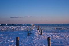 (Clarissa.S) Tags: pink blue winter sunset orange lake snow toronto ontario ice frozen dock purple