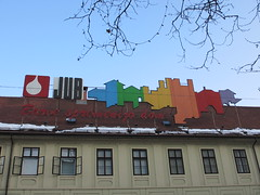 Paint company rainbow? Slovenska cesta, Ljubljana, Slovenia (Paul McClure DC) Tags: sign architecture vintage historic slovenia ljubljana slovenija jan2013