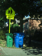 Trash Day, 1900 Block E. Union, Central District, Seattle (Blinking Charlie) Tags: seattle usa vertical colorful driveway garbagecan washingtonstate lightandshadow trashbin recyclebin centraldistrict compostbin 2014 dappledsunlight centralarea canonpowershots100 schoolcrossingsign yardwastebin schoolxingsign blinkingcharlie eunionstreet
