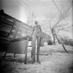 "Sculpture ""Working Girl"" (anyurtan) Tags: street bw sculpture 120 film analog square russia siberia rodinal novosibirsk fomapan"
