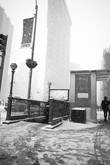 Before the Subway Closed (Michael Braverman) Tags: street city winter people white snow newyork storm black cold building architecture warning buildings square photography nikon broadway heavy blizzard archictecture flatiron 2015 d610 madisson