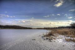 Minnehaha Headwaters (Mercenaryhawk) Tags: winter lake snow cold ice nature water minnesota creek landscape bay brush mn hdr minnetonka minnehaha grays headwaters photomatix