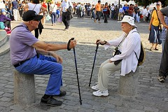 Vic and Marilyn (oxfordblues84) Tags: people woman man paris france marilyn europe ledefrance sitting hats montmartre karen tourists victor vic resting seated oldercouple walkingsticks roadscholar osualumni roadscholartour roadscholarfieldtrip vicandmarilyn