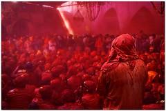 lightning strikes mars (Soumya Bandyopadhyay) Tags: colors festival wide perspective holi barsana mathura vrindavan canoneos5d gulal nandgaon canon24105mmlis brajholi lathmarholi