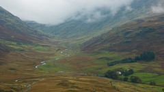 Hardknott Pass (trusler_james) Tags: road autumn trees mist mountains water rain clouds farmhouse landscape countryside october scenery rocks stream cloudy sony north lakes foggy pass scenic overcast hills rainy cumbria fields rugged hardknott a350