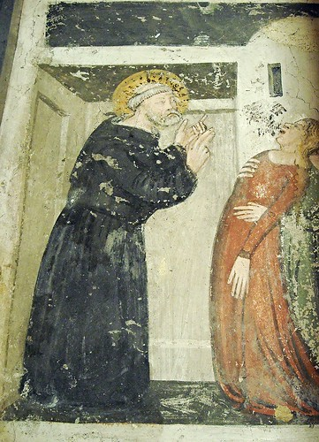 """""""Exorcism"""" (Detail) - Histories of Saint Nicholas from Tolentino by Unknown Neapolitan painter 1st half 15th century - Church of San Giovanni a Carbonara in Naples"""
