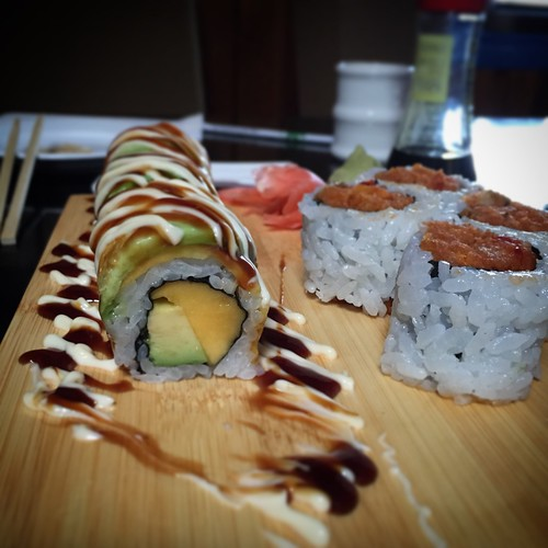 Mango and avocado roll and crunchy spicy tuna. Delicious lunch at Sakura Sushi, Whitehorse, Yukon.
