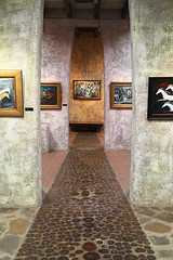 Inside the Gallery (studioferullo) Tags: light arizona house building art texture beauty lines wall architecture modern contrast painting design hall colorful long pretty artist gallery pattern floor desert bright tucson curves perspective indoor historic line hallway indoors adobe inside serene curve depth degrazia