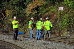 the signs say it all (Hank Rogers) Tags: pa pennsylvania taylor tayloryard rr railroad train rail rails track washout signs workers inspect derail derailment norfolksouthern