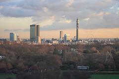 Regents Park and beyond from Primprose Hill (martin christopher-martin) Tags: sky skyline clouds primrosehill regentspark postofficetower londonskyline telecomtower snowdenaviary