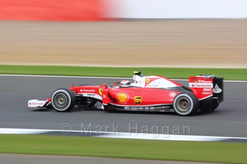 Kimi Raikkonen in his Ferrari in Free Practice 3 during the 2016 British Grand Prix