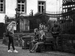 Rudesheim Streets (1mpl) Tags: olympusomdem1 germany rudesheim travelphotography streetphotography bw monochrome niksilverefexpro