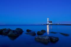 Baken (zsnajorrah) Tags: rural nature lighthouse beacon water lake reflection rocks fence pier night twilight dusk bluehour longexposure 7dmarkii ef1635mmf4l netherlands marken paardvanmarken hetwittepaard wittepaard markermeer