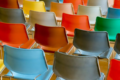 Colored chairs (on Explore) (Jan van der Wolf) Tags: map13574ve chairs stoelen herhaling repetition perspective kunsthal colors colours kleuren