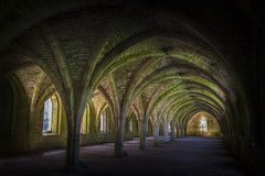 Fountains Abbey  Cellarium (chrissmithphotos1) Tags: roof shadow england green tower heritage church abbey stone architecture dark landscape carved ancient memorial ruins worship europe exterior estate yorkshire curves religion gothic columns masonry lawn perspective ruin arches landmark medieval ceiling historic worldheritagesite spooky monastery melrose destination vaulted fountainsabbey ghostly nationaltrust northyorkshire brickwork dales studley cellarium