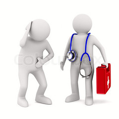 doctor and patient on white background. Isolated 3D image (E.N.G company) Tags: red people man hospital bag healthy cross personal box patient equipment medical whitebackground help health human doctor instrument medicine kit concept care pulse clinic medic paramedic suitcase examine briefcase exam healthcare cure tool isolated assistance stethoscope disease diagnostic illness listen analysis firstaid physician clinical diagnosis examination preventive