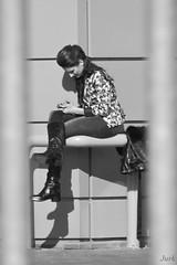 Small secret (Pavel Jursek) Tags: street city girls people urban bw white black streets blakandwhite public monochrome photography photo blackwhite flickr moments noir photographie image pics femme models picture pb human monochrom moment blackdiamond modele jurk olimpus giirls steetphoto sreetlite impublic