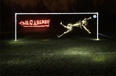 we love u bones (Murphyboy999) Tags: light painting skeleton football goal long exposure bones cleethorpes