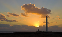 Faro Pechiguera. Lanzarote. (amancio_perdiz) Tags: sunset sky orange clouds sunrise landscape faro luces mar lanzarote canarias cielo nubes silueta farolas naranja canaryislands horizonte