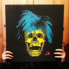 Andy post portrait. Acrilyc on canvas 50x50cm.  A present for... (.krayon) Tags: colors skull artwork handmade canvas popart pixel pixelart andywarhol present myart acrilyc killtime krayon postportrait