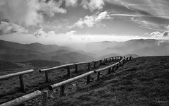 Endless Walk (Gikon) Tags: sky bw mountains monochrome clouds blackwhite nikon hiking path walk 1855mm vosges endless legrandballon silverefexpro gikon d3100