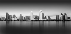 San Diego Skyline (Foto-Mike) Tags: california white black beach water skyline canon landscape eos big san long exposure head 10 tripod diego southern filter lee dslr manfrotto stopper stops 055 50d xprob 808rc4