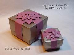 Hydrangea Ribbon Box  by Dasa Severova (esli24) Tags: origami hydrangea origamibox shuzofujimoto papierfalten origamischachtel origamihydrangea dasaseverova esli24 ilsez hortensienfaltung hygdrangeaschachtel