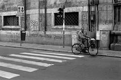 cyclist crossing (redspotted) Tags: bw italy film bicycle graffiti cyclist crossing scan sicily palermo kodaktmax400 tmy ricohxrx roll439