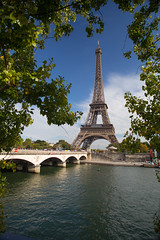 The Icon (Katka S.) Tags: city bridge sky paris france tree water metal seine clouds river big tour capital eiffel icon frame manmade metropole towe